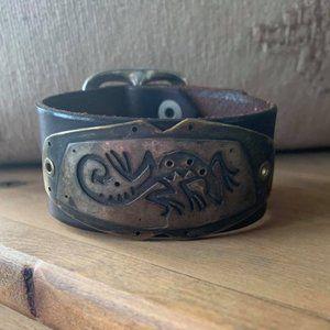 Navajo Boho Leather Bracelet